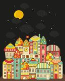 Cute night town. Vector cartoon town and clouds in the sky Royalty Free Stock Photography