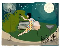 Cute nighttime in the park Stock Image