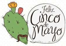 Cute Nopal Bloomed with Charro Face Celebrating Cinco de Mayo, Vector Illustration Stock Images