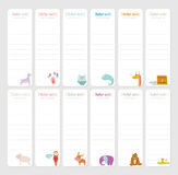 Cute Daily Note Template. Notebook Paper and Stickers Set with Vector Funny Animals Illustrations. Good for Kids. Fun Background. Organizer and Schedule with Stock Images