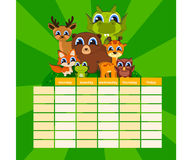 Cute Daily Note Template. Notebook Paper and Stickers Set with Vector Funny Animals Illustrations. Stock Photography