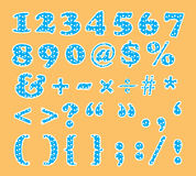 Cute number and sign font set with circle pattern Royalty Free Stock Images