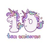 Cute Number Ten Unicorn Character Vector Illustration vector illustration