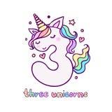 Cute Number Three Unicorn Character Vector Illustration