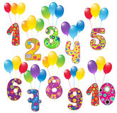 Cute numbers with balloons Royalty Free Stock Photography