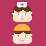 Cute Nurse and Construction Worker Stock Images