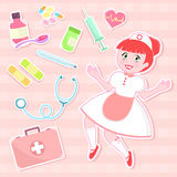 Cute nurse set. Cute nurse with collection of first aid items Stock Photo