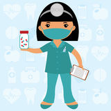 Cute nurse wearing mask Stock Photo
