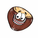 Cute Nut icon illustration drawing. And white background Stock Images