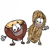 Cute nuts and ground nuts and banner illustration cartoon drawing coloring. Cute nuts and ground nuts and banner drawing and cartoon coloring drawing Royalty Free Stock Photo