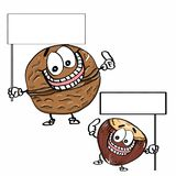 Cute nuts and ground nuts and banner illustration cartoon drawing coloring. Cute nuts and ground nuts and banner drawing and cartoon coloring drawing Royalty Free Stock Images