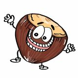 Cute Nuts icon illustration and hands drawing. Cute Nuts icon illustration and hands and white background Royalty Free Stock Image