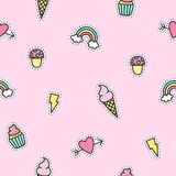 Cute objects pattern with pink background. Royalty Free Stock Photo