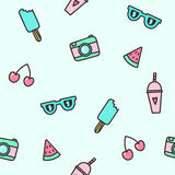 Cute objects seamless pattern. Royalty Free Stock Photos