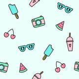 Cute objects seamless pattern. stock illustration
