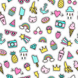 Cute objects seamless pattern. Royalty Free Stock Image