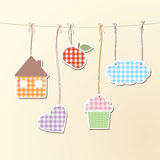 Cute objects on strings Stock Images