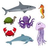 Cute ocean animals isolated on white. Childish  illustrati. On ofoctopus, jellyfish, dolphin, shark, seahorse, turtle and crab. Sea inhabitants set Royalty Free Stock Photo