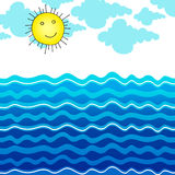 Cute ocean illustration with Sun Stock Images