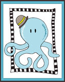 Cute octopus card in scrapbooking style Stock Photo