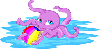 Cute octopus cartoon with a ball Royalty Free Stock Photo