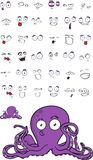 Cute octopus cartoon expressions set Stock Image