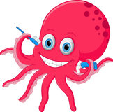 Cute octopus cartoon with toothbrush and toothpaste Stock Image