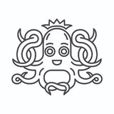 Cute Octopus with crown logo. Isolated octopus on white background vector illustration
