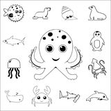 Cute octopus icon. Detailed set of sea animal outline icons. Premium quality graphic design icon. One of the collection icons for. Websites, web design, mobile Stock Photo