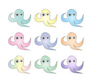 Cute Octopus pattern. Abstract background. Watercolor  octopus seamless pattern hand painted illustration  on white background. Cartoon characters. For Art Royalty Free Stock Image