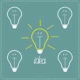 Cute on and off bulbs with faces. Idea concept. Royalty Free Stock Photo