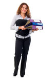 Cute Office Girl With Documents. Stock Photo