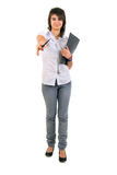 Cute Office Girl With Documents. Royalty Free Stock Image