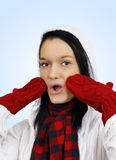 Cute oh my surprised winter girl Stock Image
