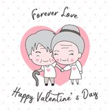 Cute old couple decorated happy valentine`s day card. Cute old couple decorated happy valentine`s day character on white background with heart and pink polka dot Royalty Free Illustration