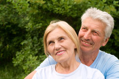Cute old couple at nature Royalty Free Stock Photo