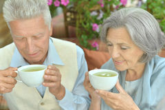 Cute old couple. Portrait of a cute old couple drinking tea royalty free stock image