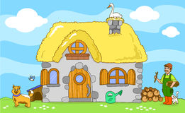 Cute old farm. Cartoon illustration. Royalty Free Stock Photos