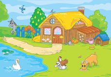 Cute old farm. Cartoon illustration. Stock Photo