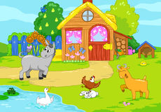 Cute old farm. Children illustration. Stock Photo