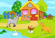 Cute old farm. Children illustration. Stock Photo