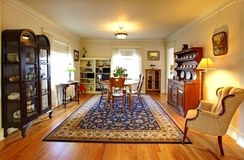 Cute old  house dining room with English style. Royalty Free Stock Photo