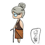 Cute old lady vector cartoon with black line drawing Royalty Free Stock Images