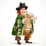 Cute old pirate wearing a camisole holding a shabby parchment Royalty Free Stock Image