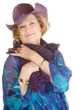 Cute Older Woman in Purple Hat Stock Images