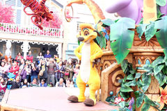 This is cute One of the famous cartoon characters of Walt Disney are shown in the parade at Hong Kong Disneyland Stock Photos