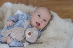 One month old baby boy lying with teddy bear royalty free stock photos