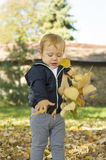 Cute one year old baby girl playing with leaves on in a park Royalty Free Stock Photography