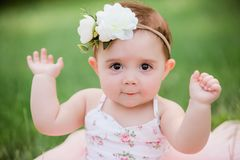 One Year Caucasian Old Girl With Brown Eyes Royalty Free Stock Photo
