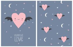 Vampire Love. Halloween Party Vector Illustration and Seamless Pattern.